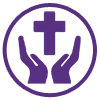 hands with a cross above