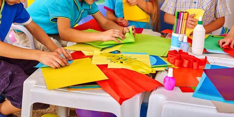 Children working with crafts