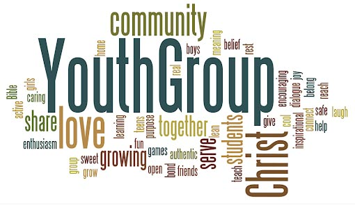 Youth group sign with words